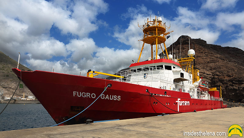 Fugro Gauss Undersea Survey Ship Docks at Rupert's Jetty